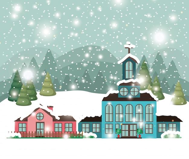 Ville avec église en paysage de neige Vecteur gratuit