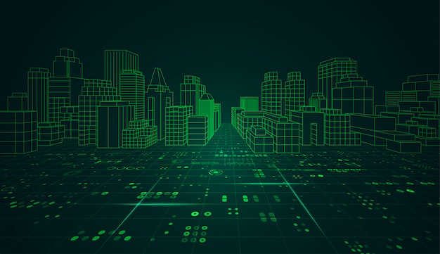 Ville Futuriste Vecteur Premium