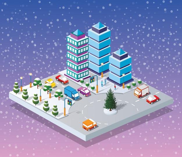 Ville d'hiver de noël Vecteur Premium