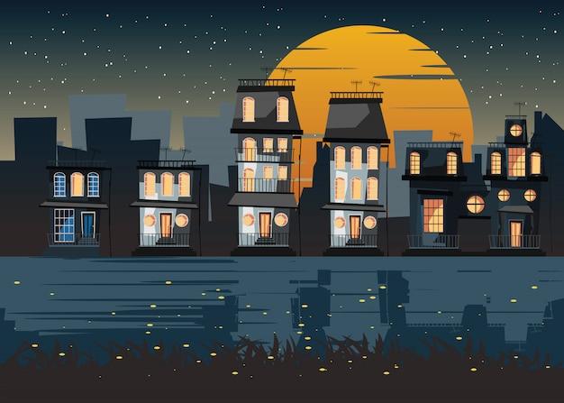 Ville à l'illustration vectorielle de nuit Vecteur Premium