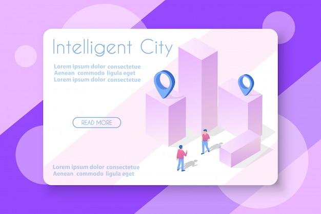 La ville isométrique avec gratte-ciel Vecteur Premium