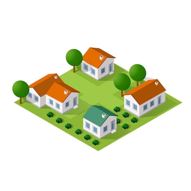 Ville isométrique avec des maisons et des rues avec des arbres Vecteur Premium