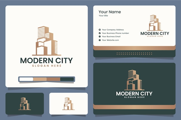 Ville Moderne, Bâtiment, Bureau, Appartement, Création De Logo Et Cartes De Visite Vecteur Premium