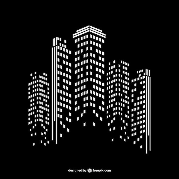 Ville moderne fond de nuit Vecteur gratuit