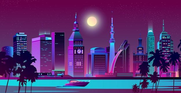 Ville moderne sur vecteur de paysage de nuit au bord de mer Vecteur gratuit