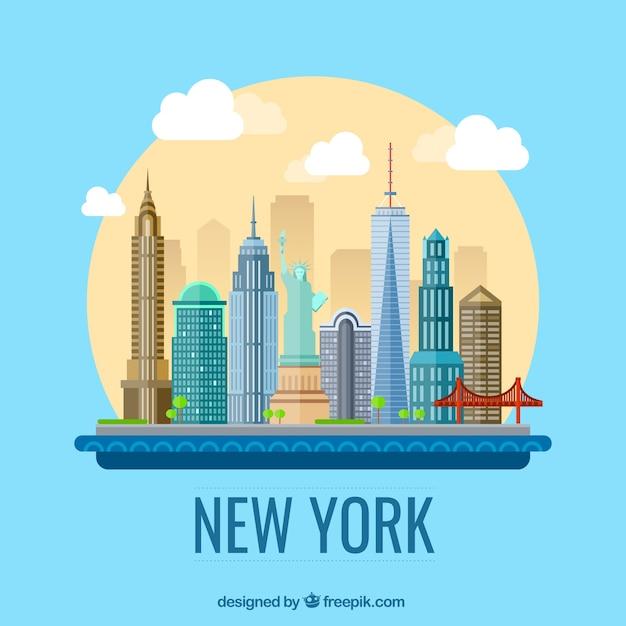 Ville De New York Illustration Vecteur gratuit