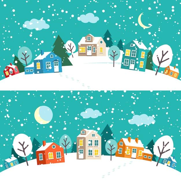 Ville De Noël D'hiver. Paysage De Village Enneigé Vecteur Premium