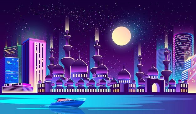 Ville de nuit avec mosquée musulmane, gratte-ciels. Vecteur gratuit