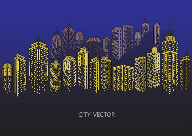 Ville de nuit paysage urbain. silhouette de la ville bleue. Vecteur Premium