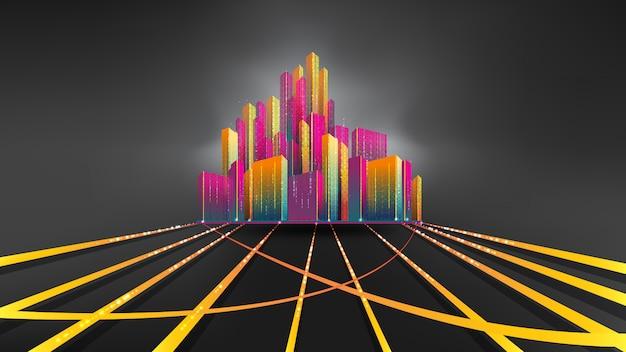 Ville La Nuit. Smart City, Communication, Réseau, Connexion Vecteur Premium