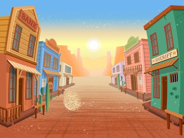 Ville De L'ouest. Illustration Vecteur Premium