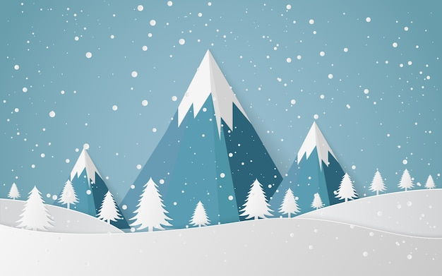 Ville de paysage de neige d'hiver, bonne année et joyeux noël, art du papier et style. Vecteur Premium