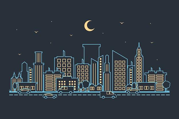 Ville paysage urbain horizon paysage bâtiment rue design illustration Vecteur Premium