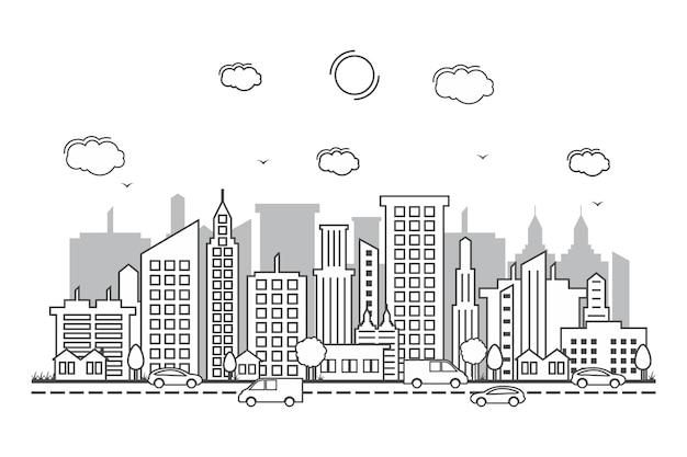 Ville paysage urbain horizon rue route ligne design illustration Vecteur Premium