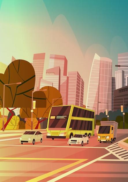 Ville rue gratte-ciel bâtiments vue de la route paysage urbain moderne centre-ville de singapour Vecteur Premium