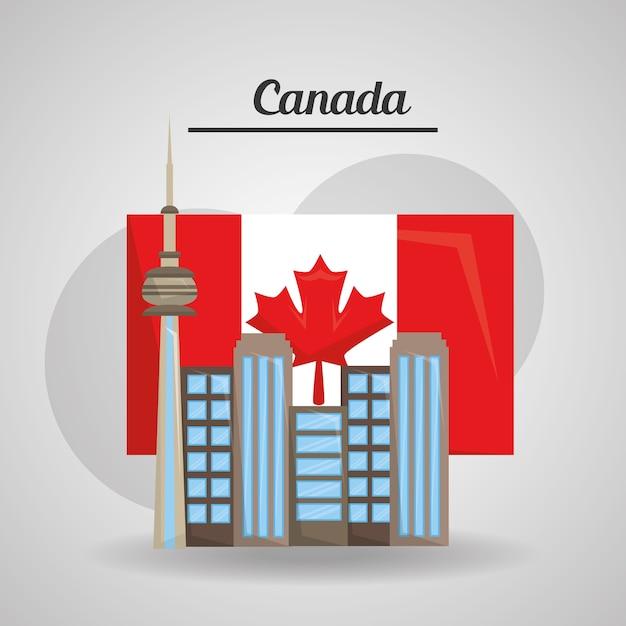 Ville Toronto Canada Drapeau Pays Américain Vecteur Premium
