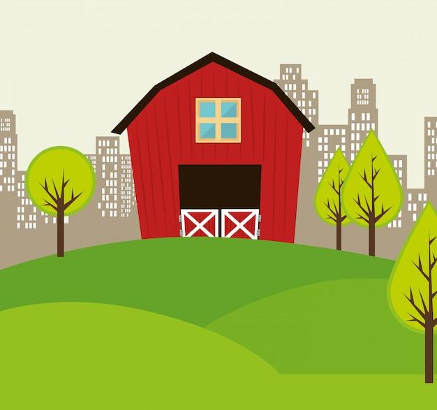 Ville urbaine et design immobilier. Vecteur Premium