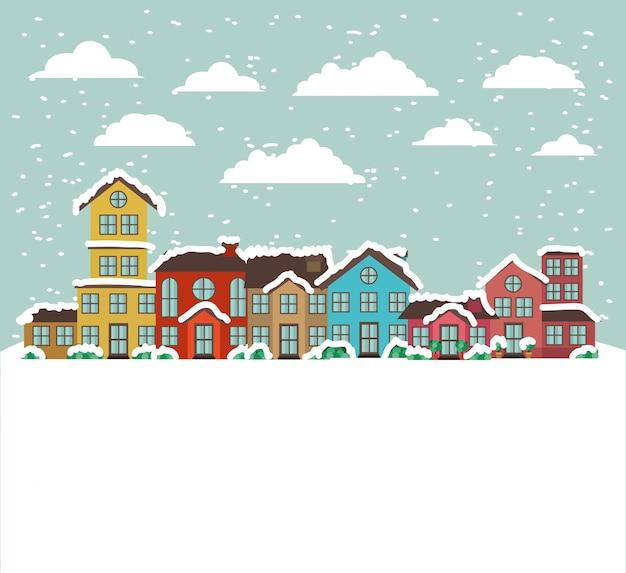 Ville urbaine en scène de neige Vecteur gratuit