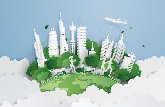 Ville verte dans le ciel. Vecteur Premium