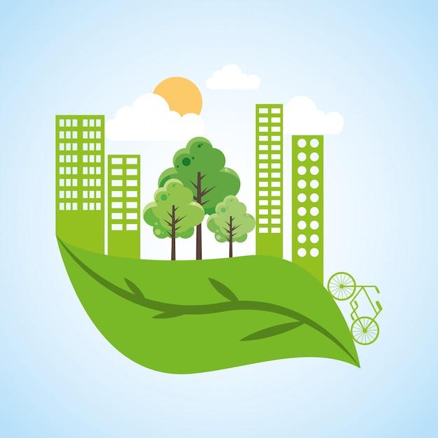 Ville verte avec feuille Vecteur Premium