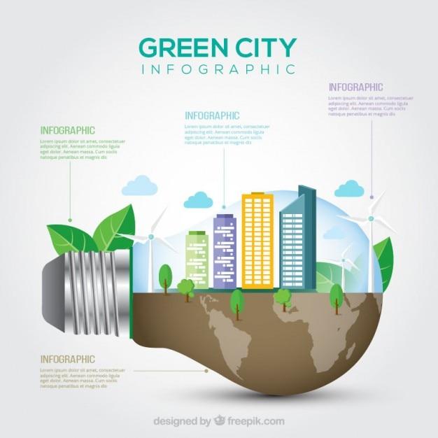 Ville Verte à L'intérieur Lightbulb Infographies Vecteur gratuit