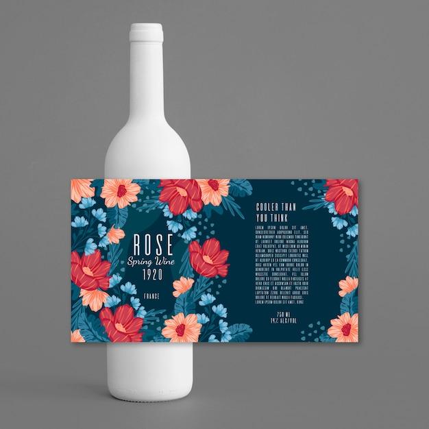 Vin Avec Annonce De Boisson Design Floral Vecteur gratuit