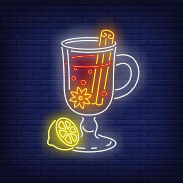 Vin brillant dans le style néon Vecteur gratuit