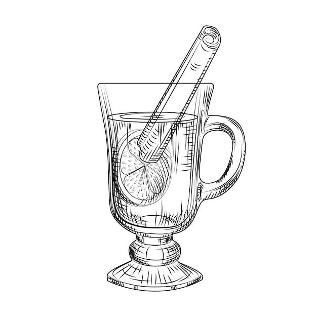 Vin chaud dessiné à la main isolé. esquisse en verre de vin chaud Vecteur Premium