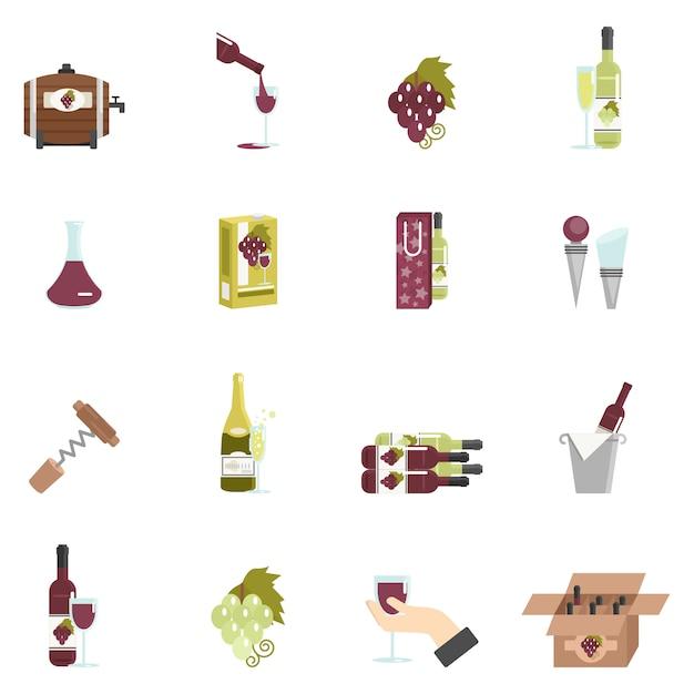 Vin icône plat Vecteur gratuit
