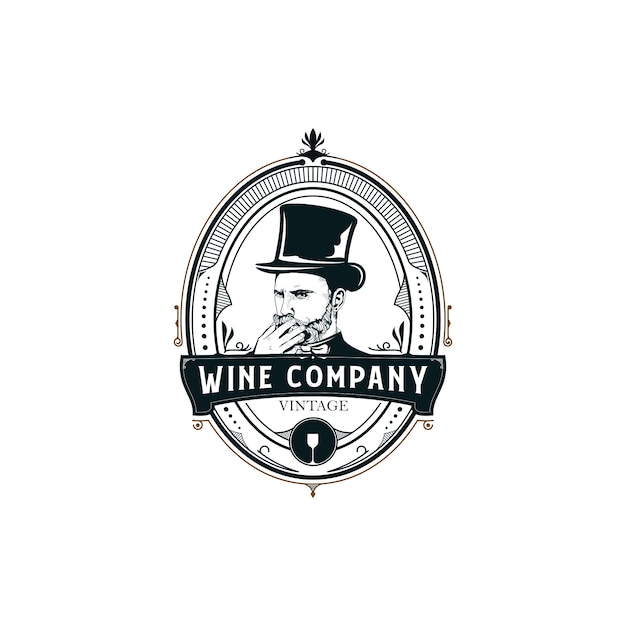 Vin illustration logo Vecteur Premium
