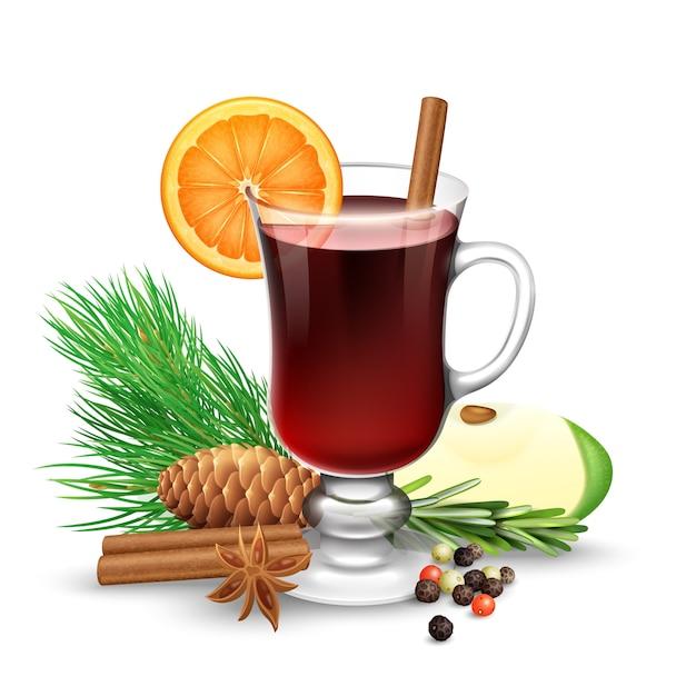 Vin rouge chaud pour l'hiver et noël avec des bâtons de cannelle tranche d'orange anis et branche de pin vec Vecteur gratuit