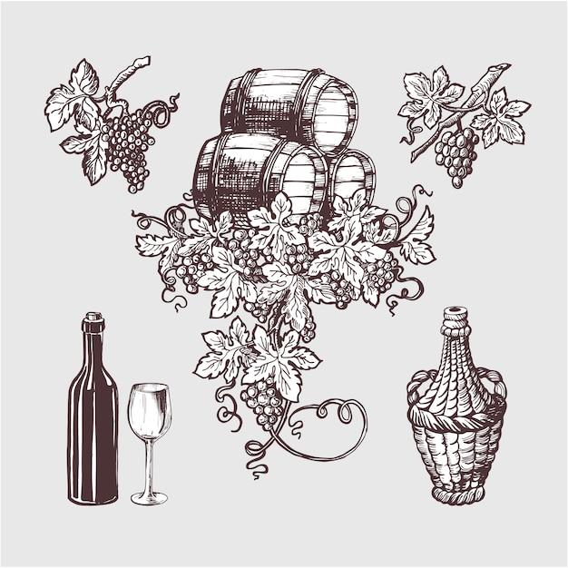 Vin et vinification ensemble vintage. Vecteur Premium