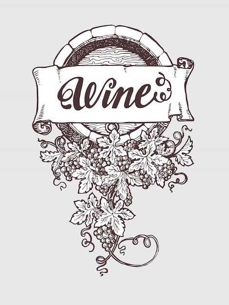 Vin et vinification vecteur vintage Vecteur Premium