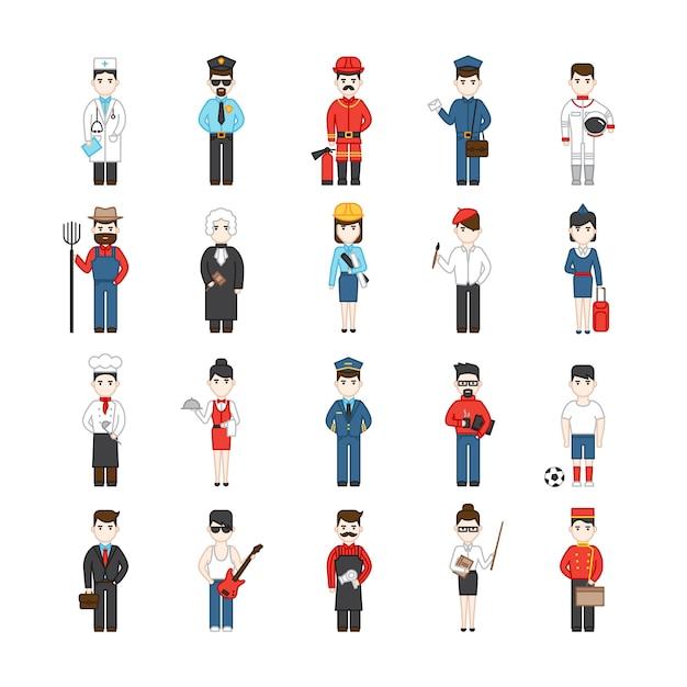 Vingt personnages de dessins animés de différentes professions Vecteur gratuit