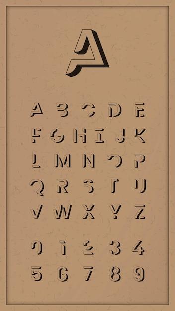 Vintage Alphabet Tendance Vecteur gratuit
