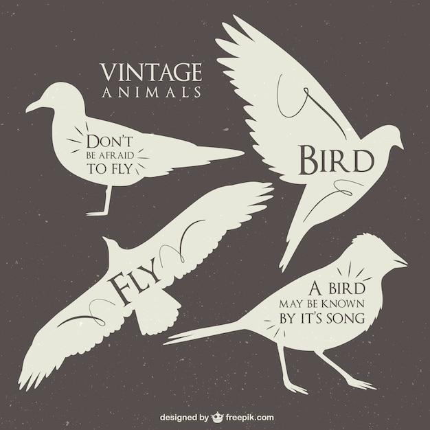 Vintage animals silhouettes Vecteur gratuit