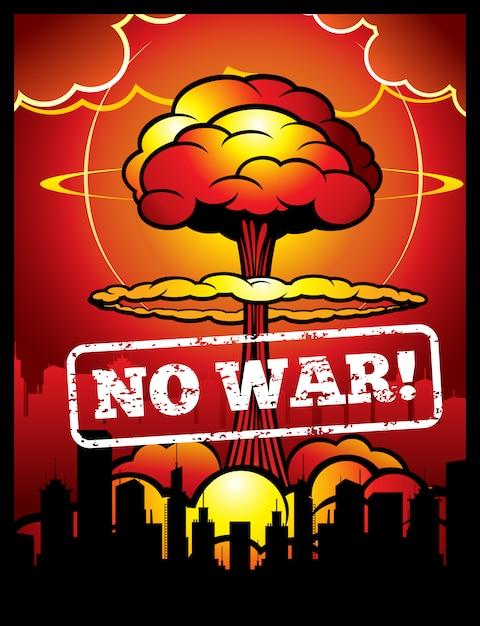 Vintage aucune affiche de vecteur de guerre avec explosion de bombe atomique et champignon nucléaire. Vecteur Premium