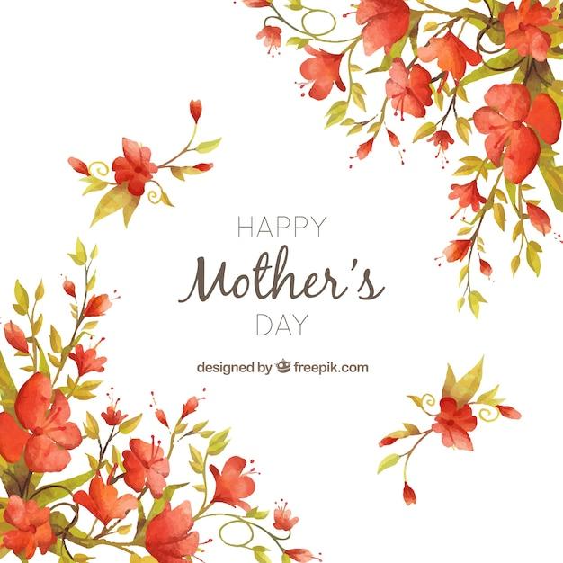 vintage background aquarelle fleur de la fête des mères Vecteur gratuit