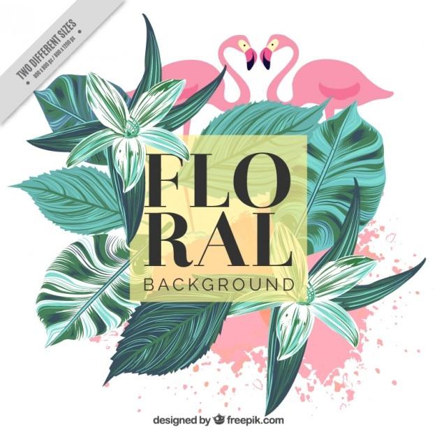 Vintage background de feuilles et de flamants roses palmiers peints à la main Vecteur gratuit