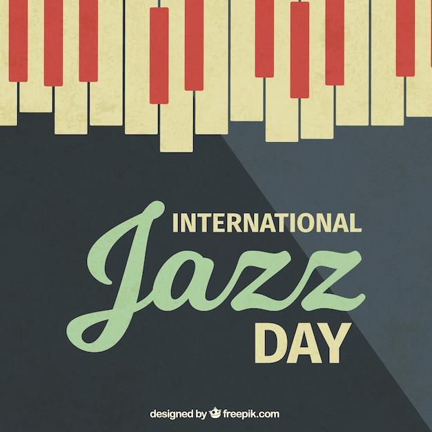 Vintage background jazz avec des touches de piano Vecteur gratuit