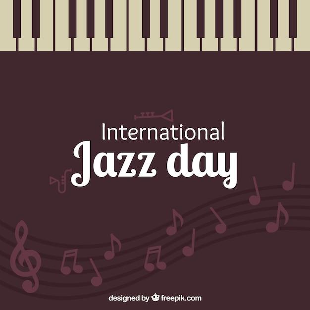Vintage background journée de jazz avec des touches de piano Vecteur gratuit