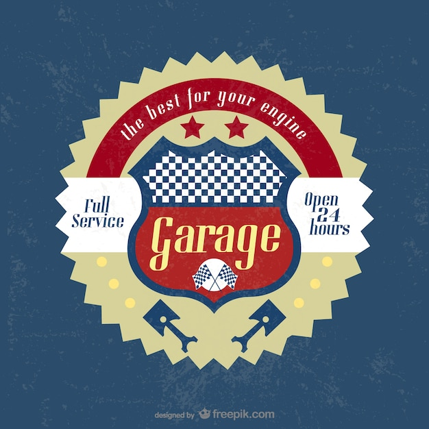 Vintage badge garage Vecteur gratuit