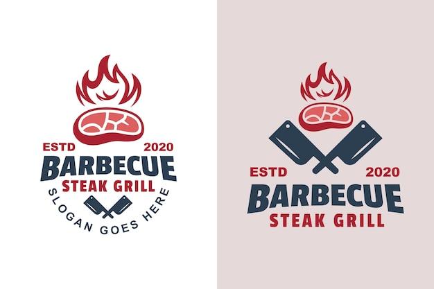Vintage Barbecue Steak Grillé Logo Deux Version Vecteur Premium