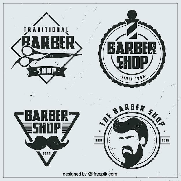 Vintage boutique logos de coiffure plat Vecteur gratuit