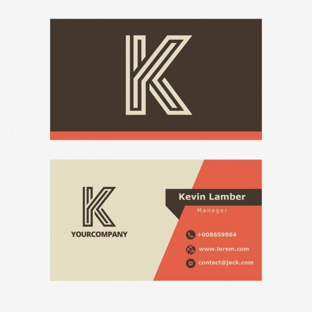 Vintage brun business carte avec la lettre k Vecteur gratuit