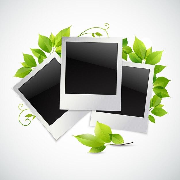 Vintage cadres photo instantané avec feuilles vertes Vecteur Premium