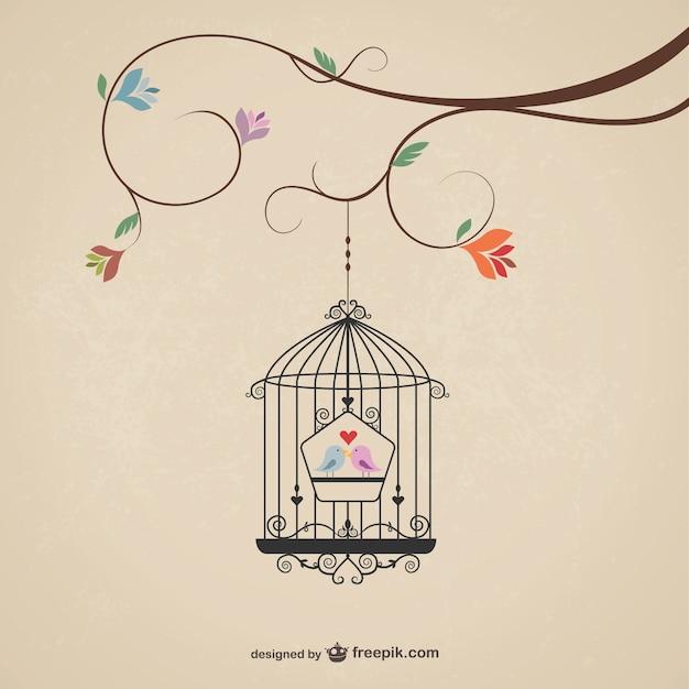Vintage Cage Avec Des Oiseaux Vecteur gratuit