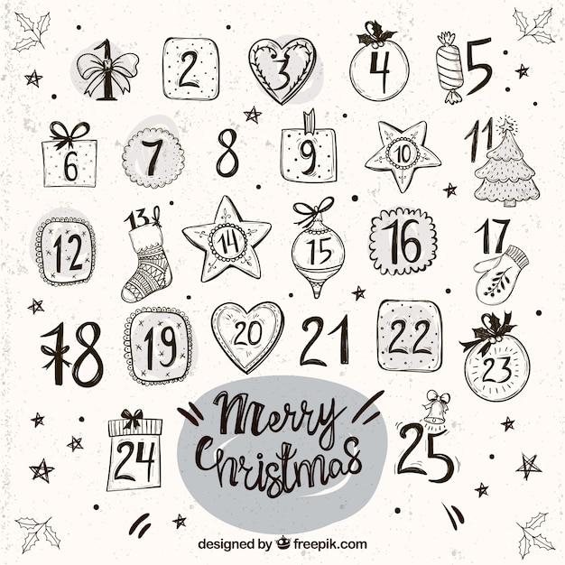 Vintage calendrier de l'avent avec des ornements dessinés à la main Vecteur gratuit