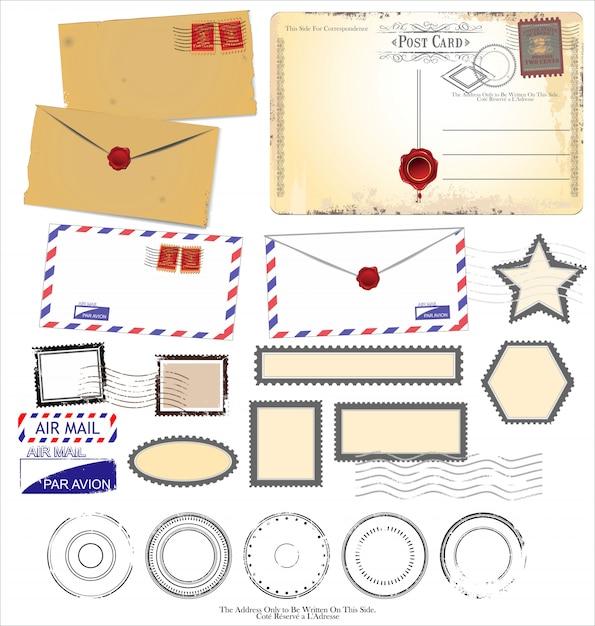 Vintage cartes postales et éléments d'affranchissement Vecteur Premium