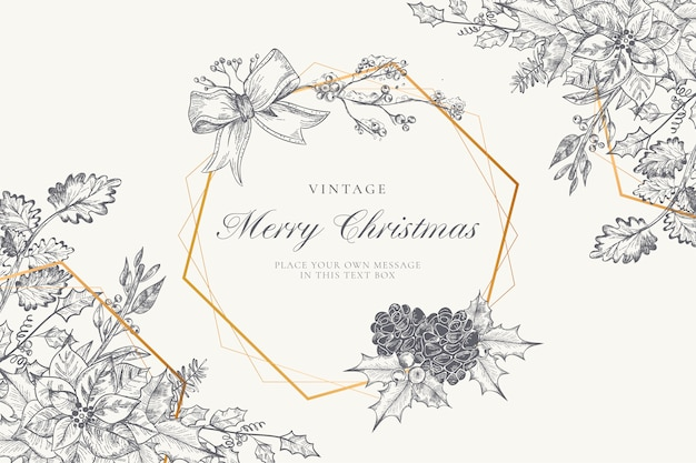 Vintage christmas background avec winter nature Vecteur gratuit